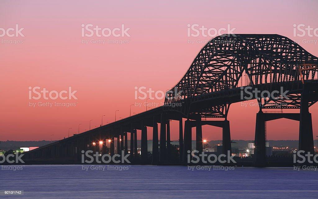 Newark Bay Bridge at Red Sunset stock photo