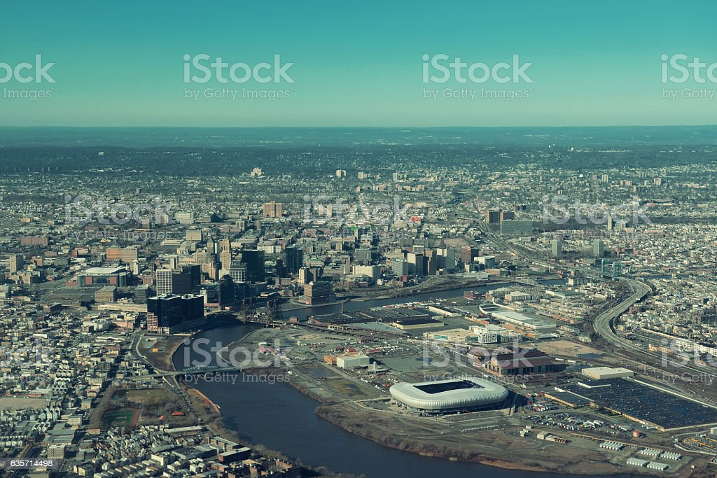 Newark downtown aerial royalty-free stock photo
