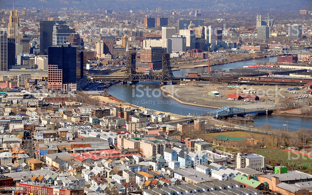 Newark, New Jersey: downtown, Ironbound and the river stock photo