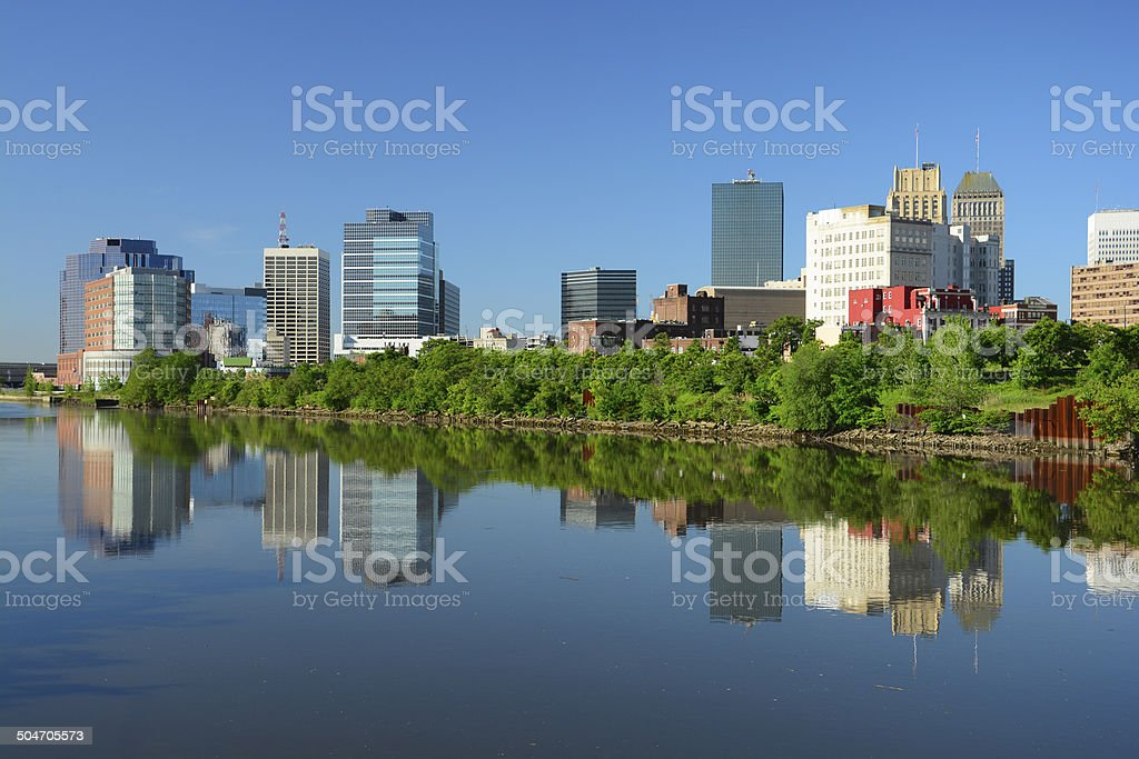 Newark, New Jersey downtown skyline and river stock photo