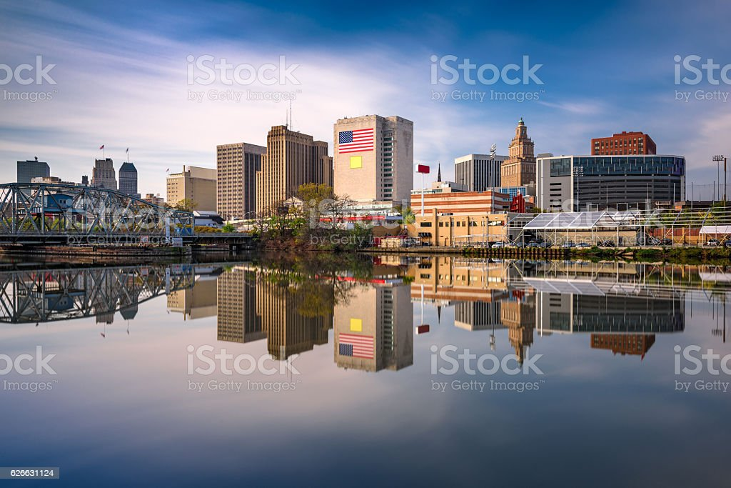 Newark, New Jersey Skyline Newark, New Jersey, USA skyline on the Passaic River. Architecture Stock Photo