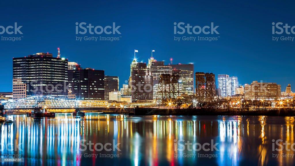 Newark, NJ cityscape by night stock photo