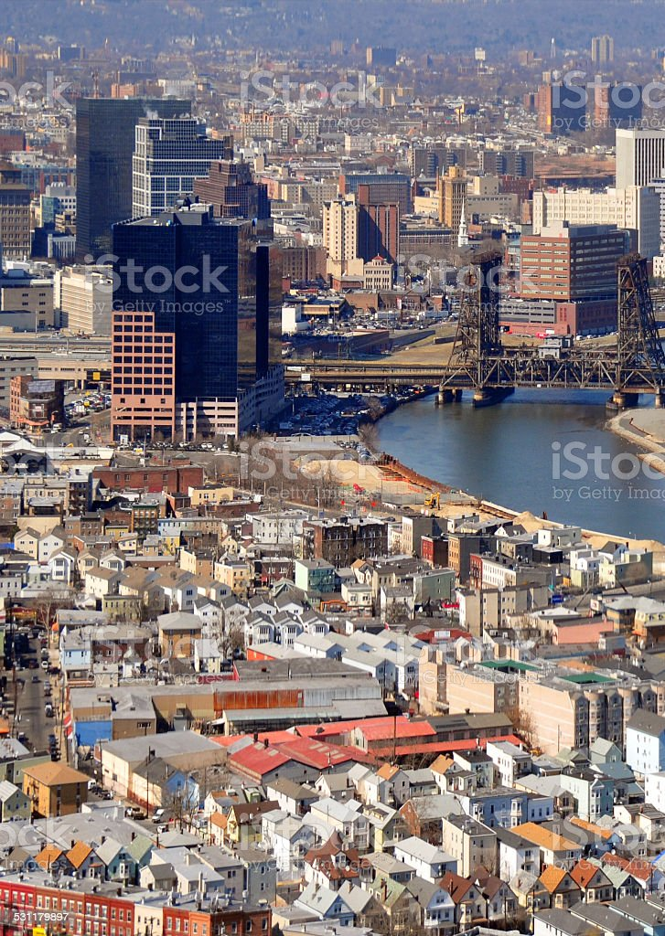 Newark, NJ: the Ironbound and the business district stock photo