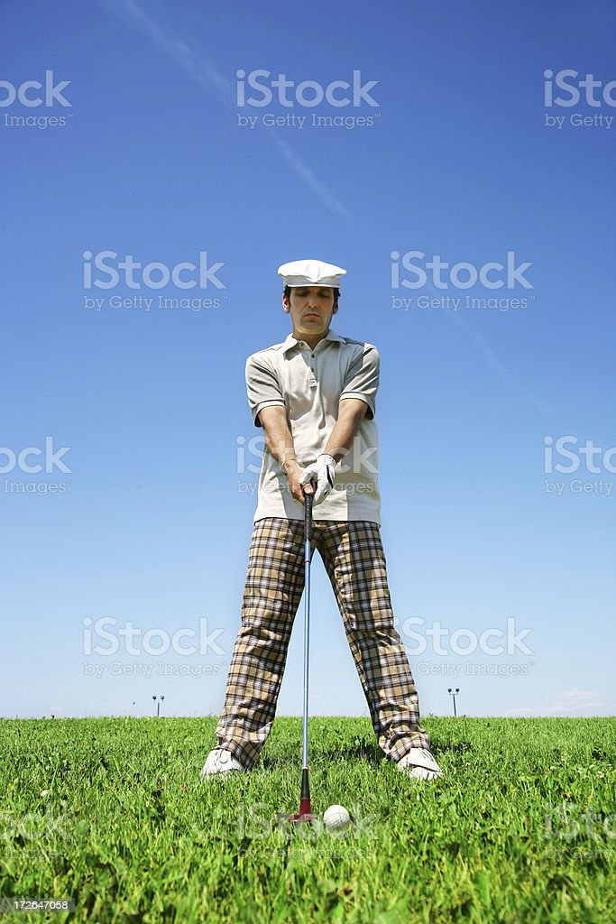 Newbie Golfer concentrating royalty-free stock photo