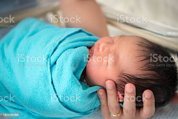 Newborn Asian Baby Girl In Hospital Stock Photo - Download Image Now