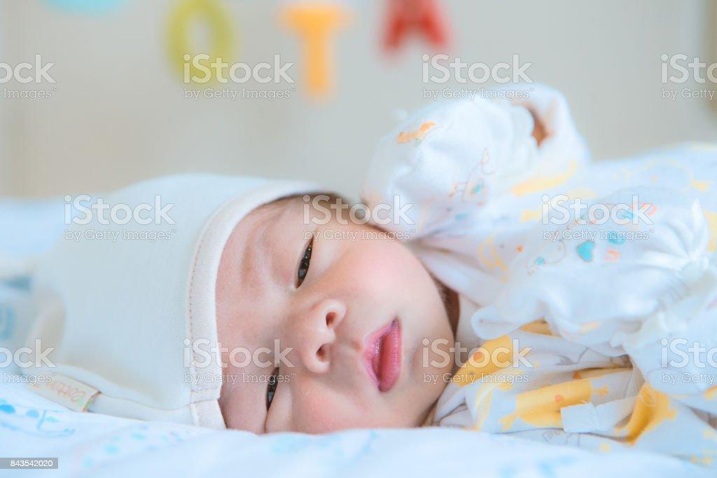 Newborn asian baby stock photo