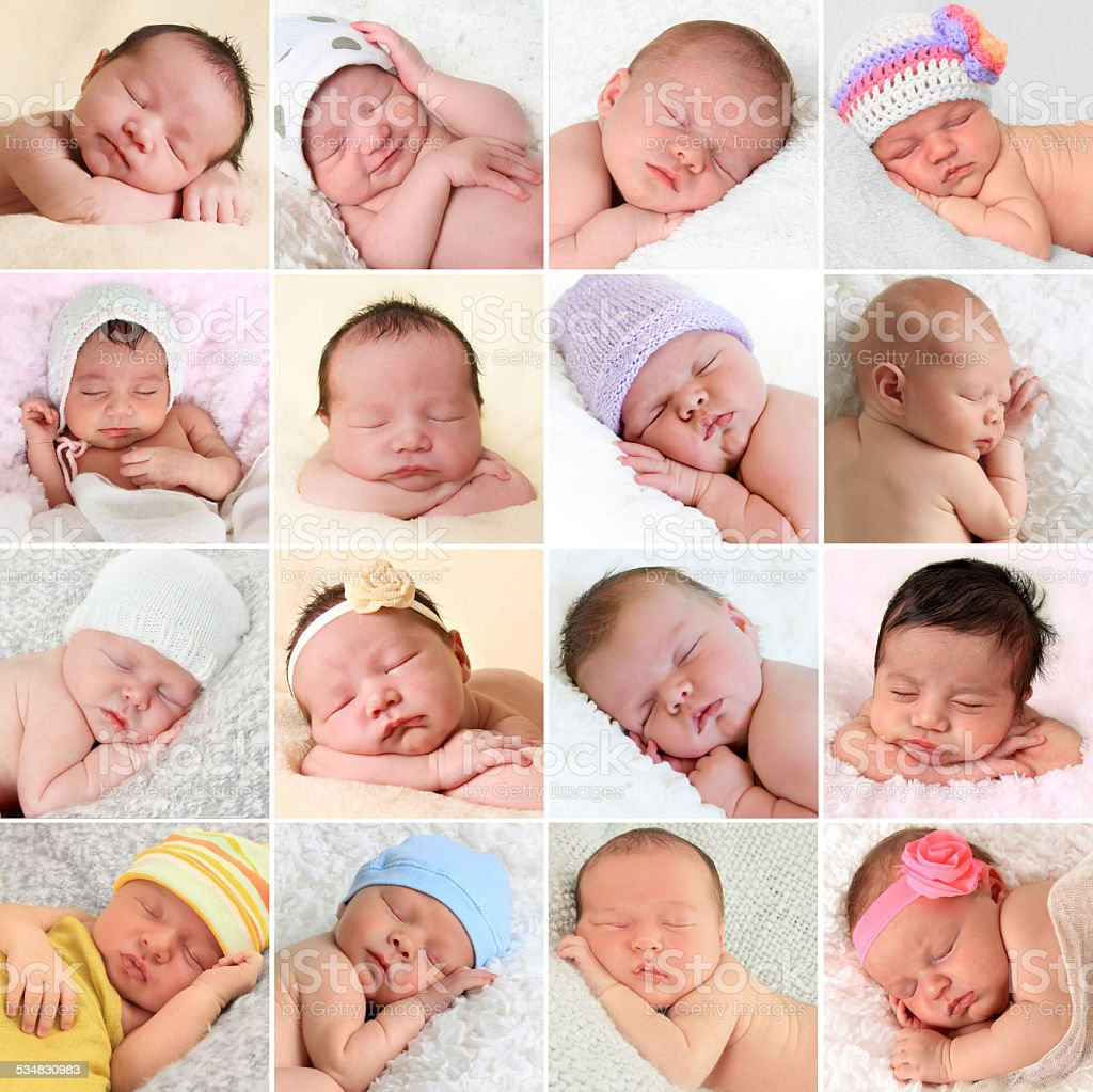 Newborn babies collage stock photo