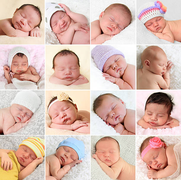 Newborn babies collage A collage of newborn babies sleeping.  babies only stock pictures, royalty-free photos & images
