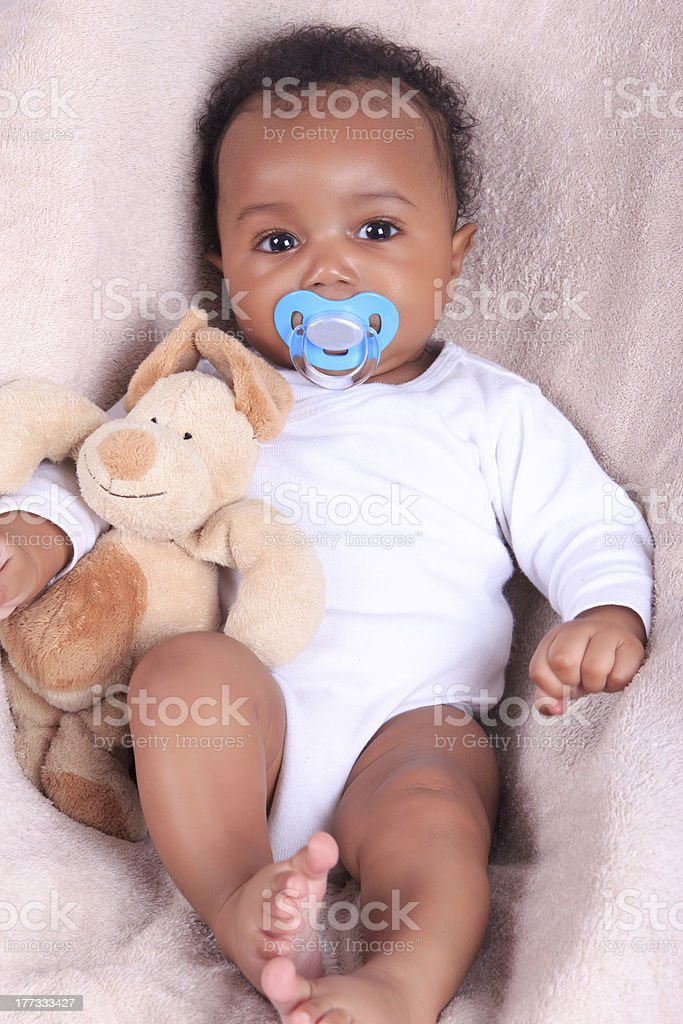Newborn baby african american stock photo