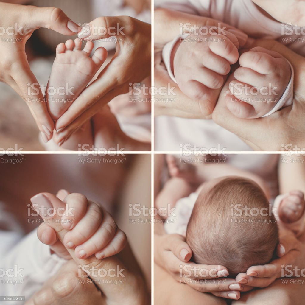 Close-up collage, body parts, young mother, gently holds her newborn...