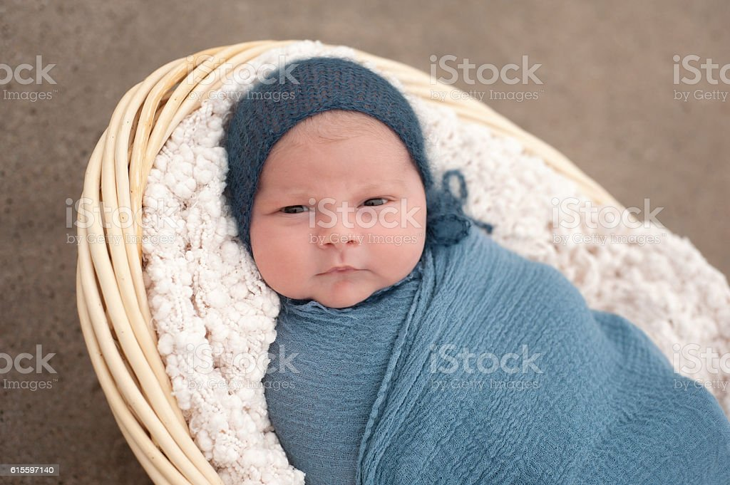 Newborn Baby Boy in a Basket stock photo