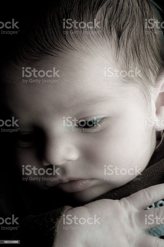 Newborn Baby Boy Isolated on Black royalty-free stock photo