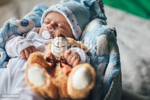 istock Newborn baby boy sleeping in cozy basket 642036358