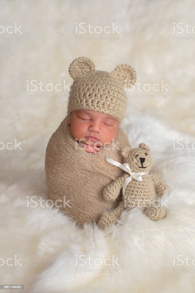 Newborn Baby Boy With Bear Hat And Toy Stock Photo   More Pictures ... e25167163fce