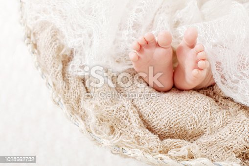 Newborn baby feet on knitted plaid. Closeup picture