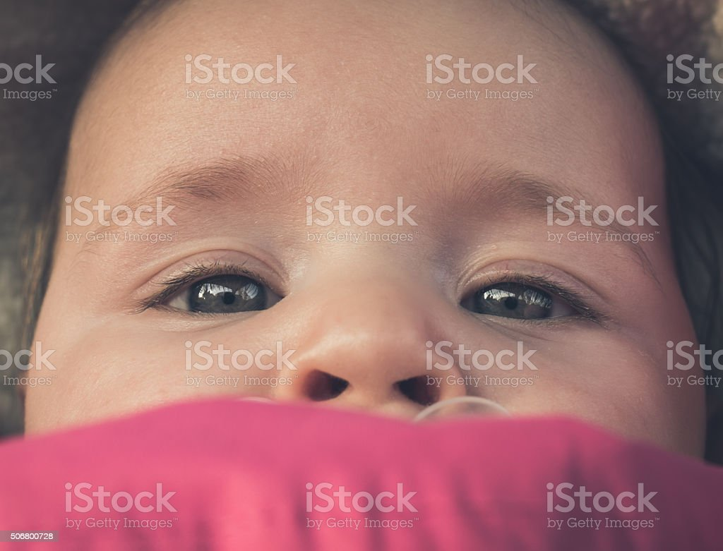 Newborn Baby Girl Close Up Portrait royalty-free stock photo