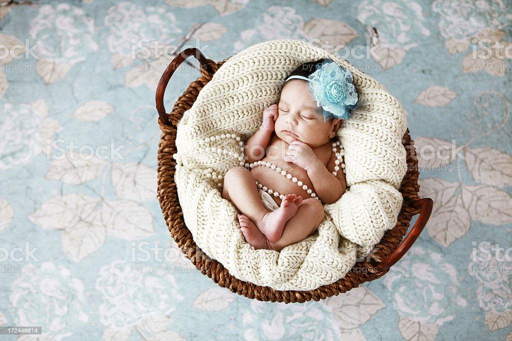 Newborn Baby Girl in Basket royalty-free stock photo