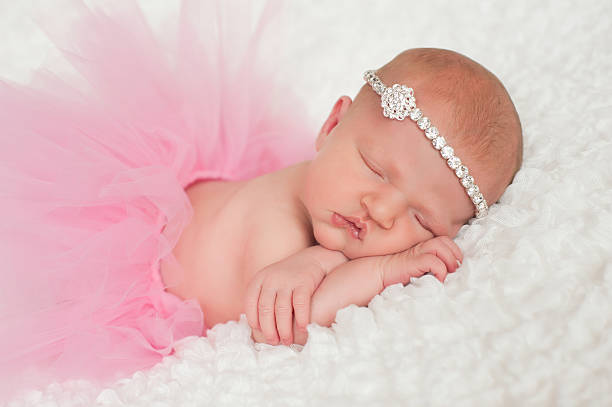 Newborn Baby Girl in Pink Tutu stock photo
