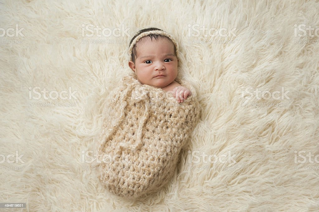 Newborn Baby Girl in Pouch stock photo