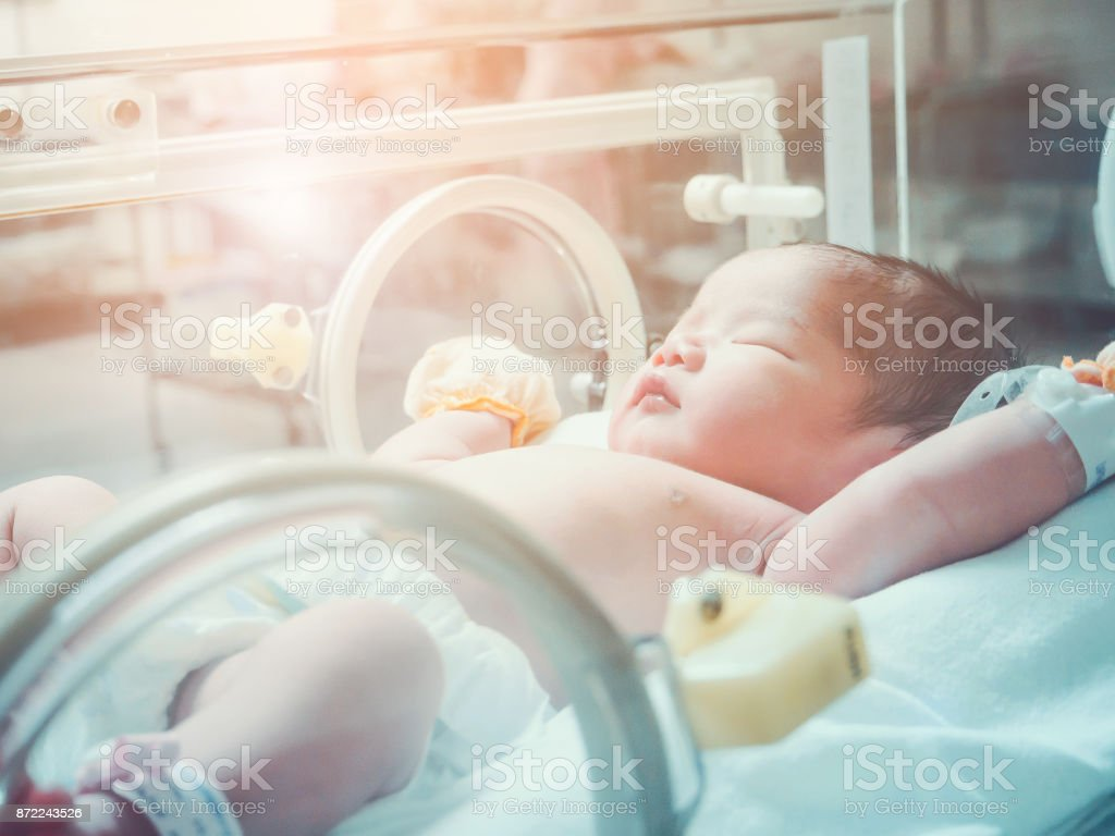 Newborn baby girl inside incubator in hospital post delivery room stock photo