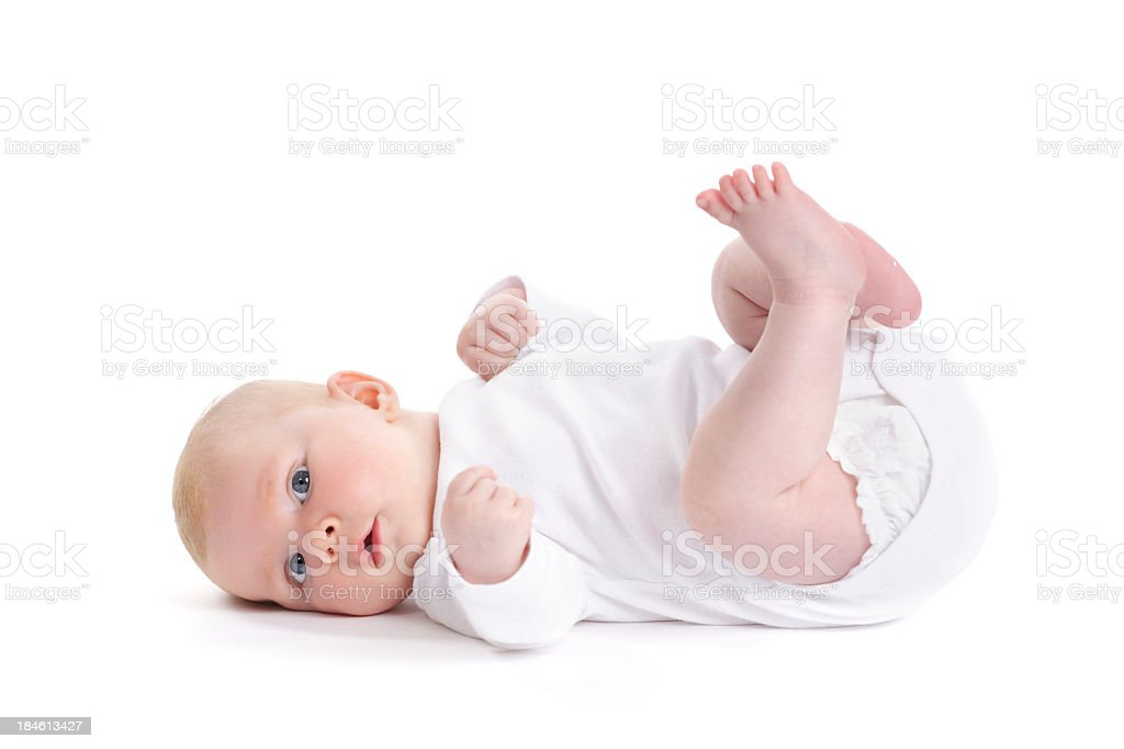 Newborn Baby Girl On Her Back stock photo