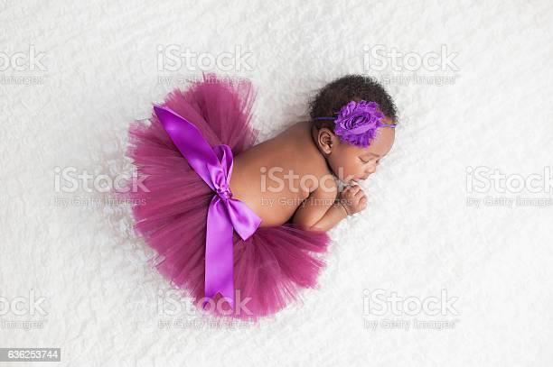 Photo of Newborn Baby Girl Wearing a Purple Tutu
