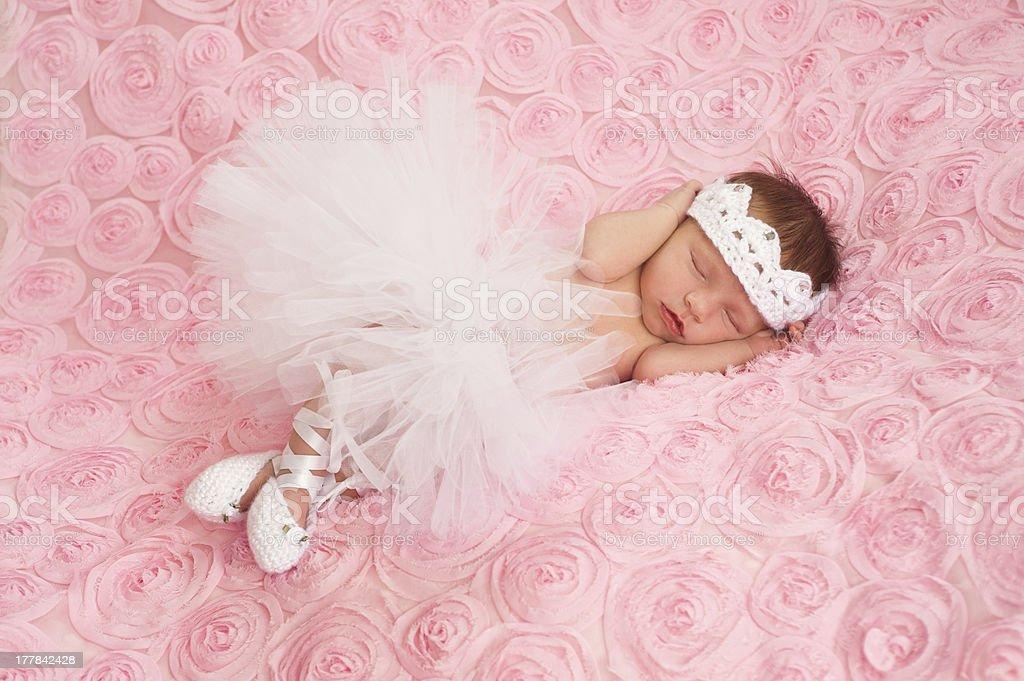 Newborn Baby Girl Wearing a White Ballerina Tutu royalty-free stock photo