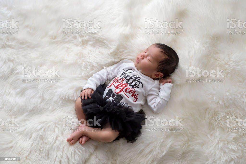 Newborn Baby Girl Wearing Tutu Bloomers stock photo