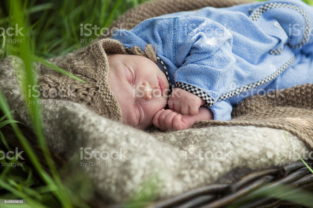 newborn baby in blue suit sleeping in the garden stock photo