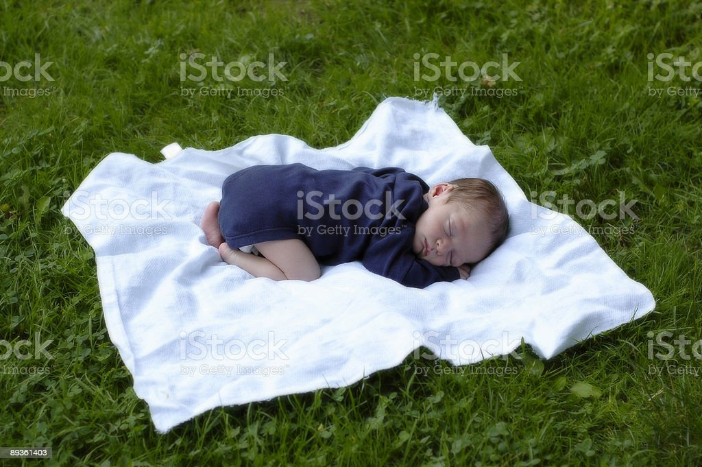 Recién nacido bebé sobre hierba 2 foto de stock libre de derechos