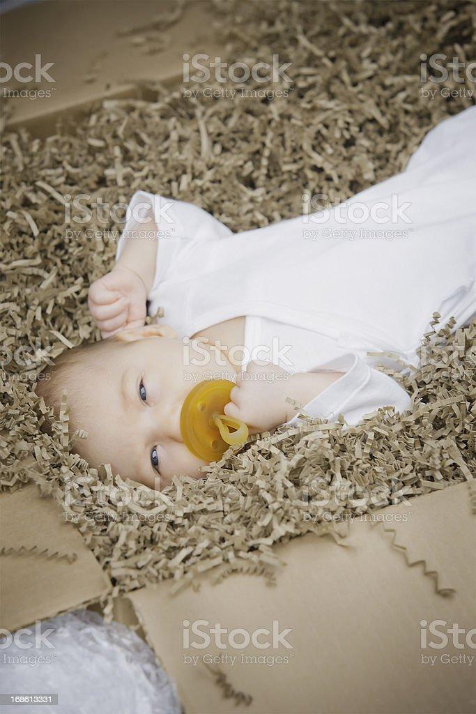 Newborn baby ready to ship royalty-free stock photo