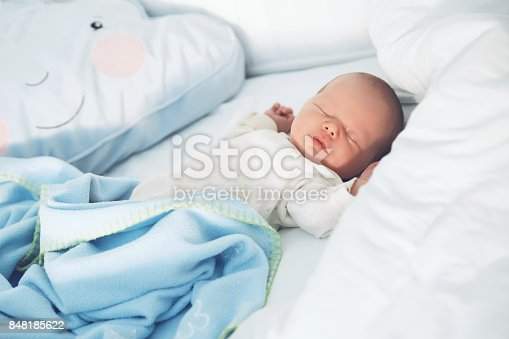 istock Newborn baby sleep first days of life. 848185622