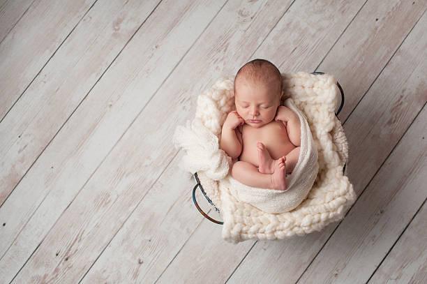 Newborn Baby Sleeping in a Wire Basket stock photo