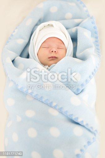 istock Newborn Baby Sleeping in Blue Blanked, New Born Kid Portrait 1151771740