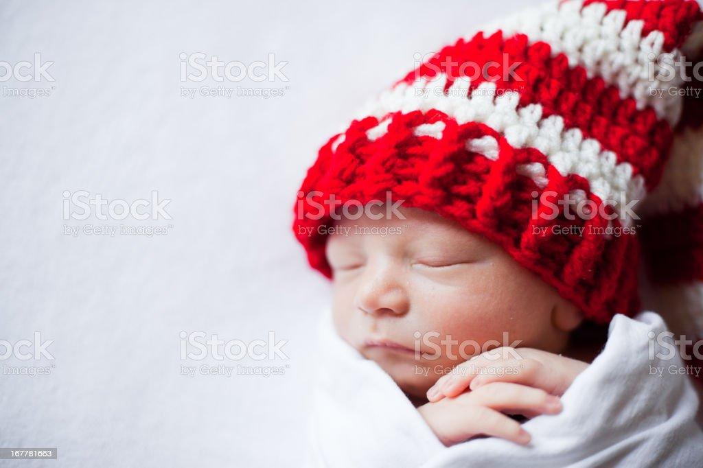 Newborn Baby Wearing Christmas Hat stock photo
