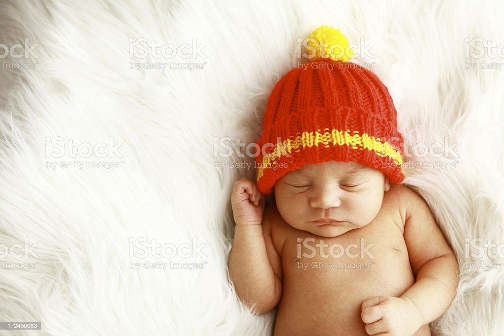 Newborn Baby Wearing Knit Hat royalty-free stock photo