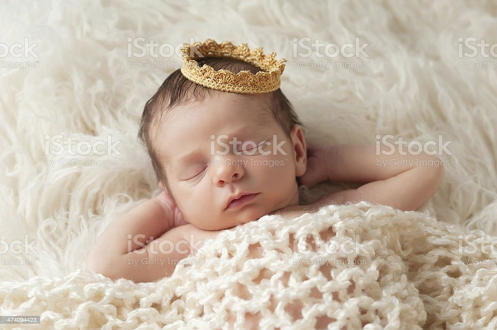 Newborn Baby with Prince's Crown stock photo