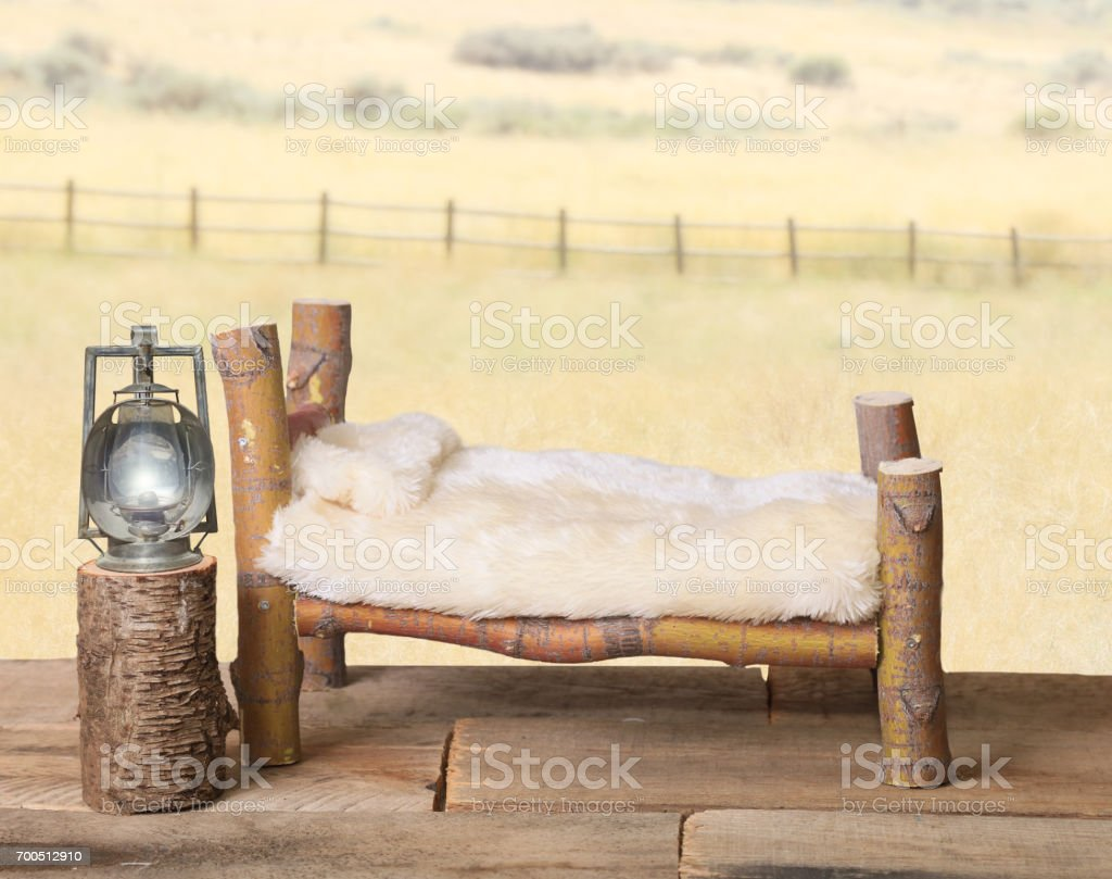 Newborn backdrop bed and meadow. stock photo