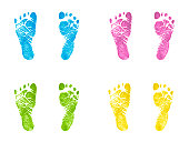 Newborn Footprints Multicolor Inked Stamped Impressions