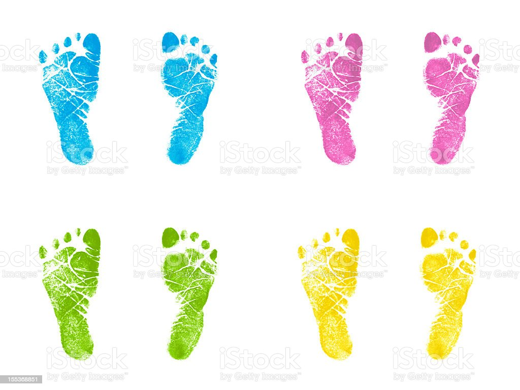 Newborn Footprints Multicolor Inked Stamped Impressions stock photo