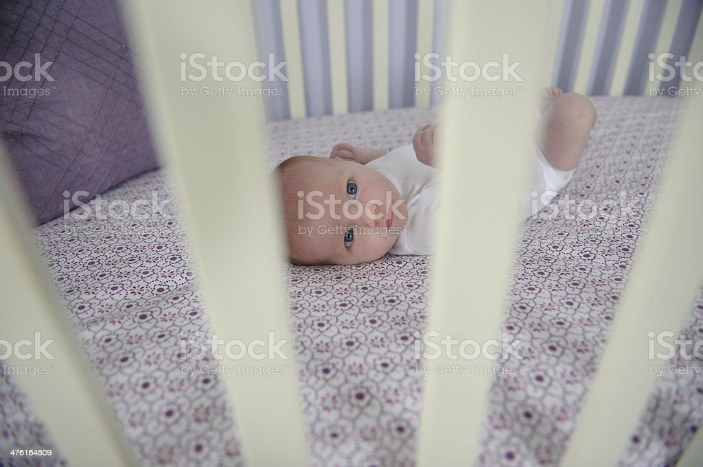 Newborn Girl in her Crib royalty-free stock photo