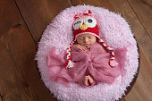 """A six day old newborn baby girl sleeping in a wooden bowl. She is wearing a pink and red, crocheted """"flirty"""" owl hat. Shot in the studio on a wood background."""