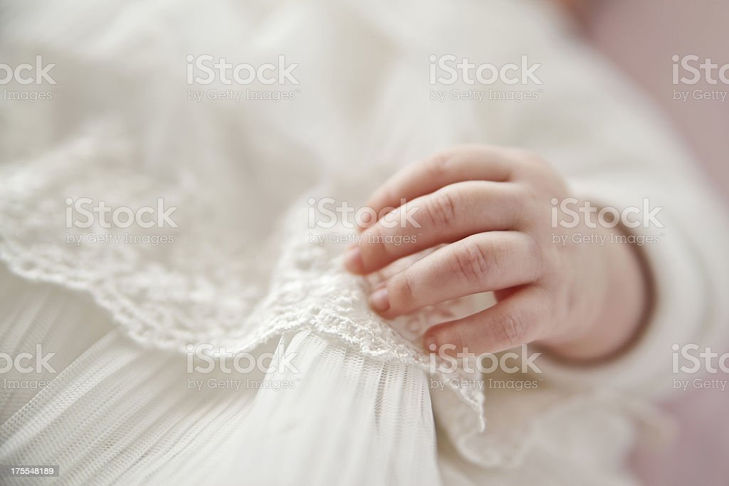 Newborn hand stock photo