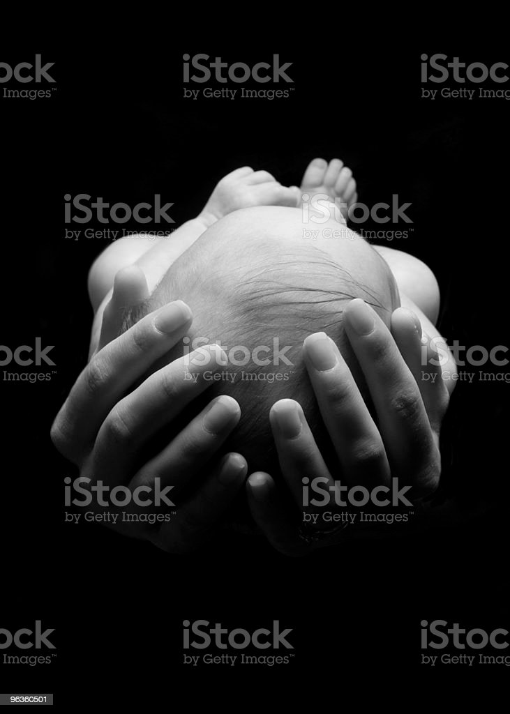 Newborn in Hands royalty-free stock photo