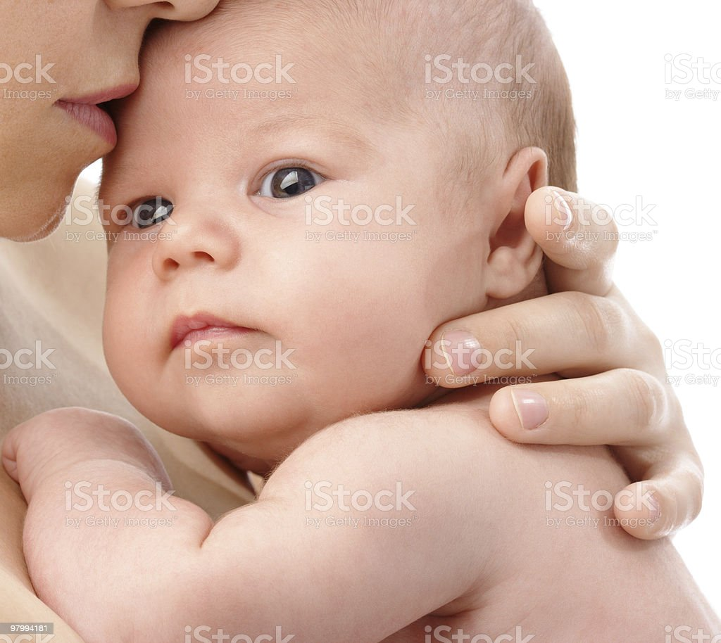 Newborn in mother's hands royalty free stockfoto
