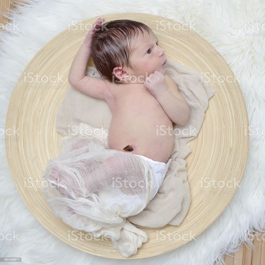 Newborn on a wooden plate stock photo