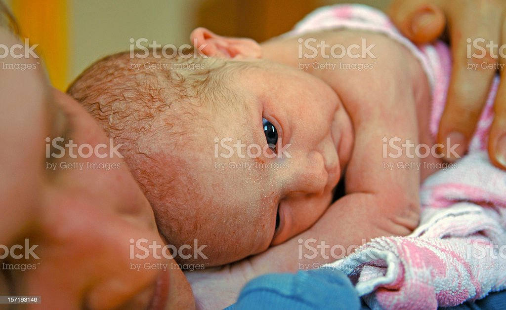 Newborn one minute!! after birth royalty-free stock photo
