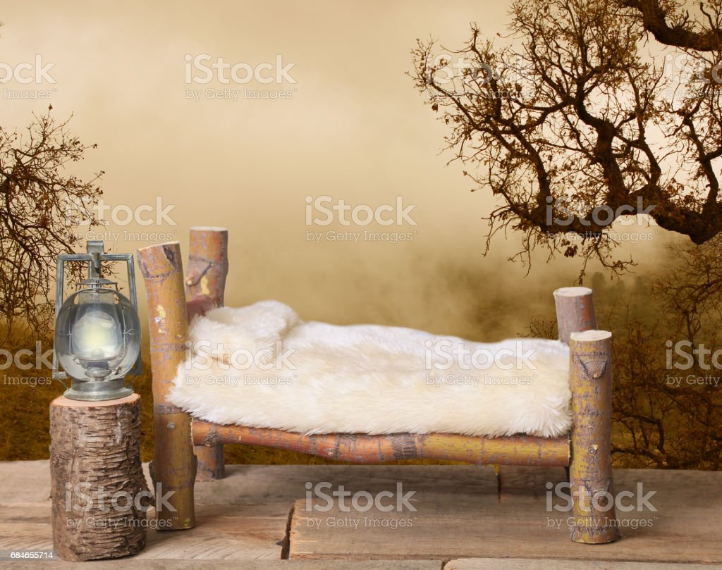 Newborn photography backdrop in a country setting. stock photo