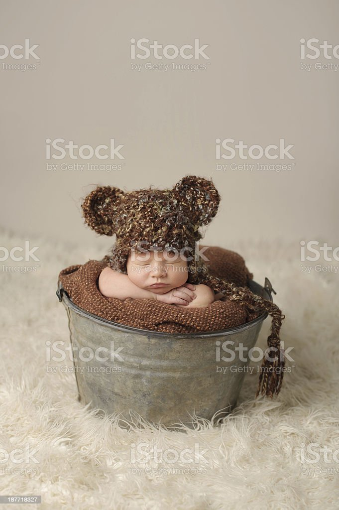 Newborn Posing In Bucket royalty-free stock photo