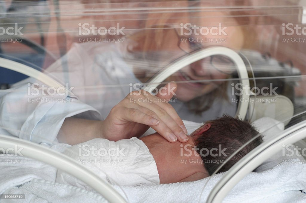 Newborn Premature in Incubator stock photo